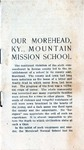 Our Morehead, Ky., Mountain Mission School
