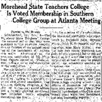 Morehead State Teachers College is Voted Membership in Southern College Group at Atlanta Meeting