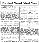 Morehead Normal School News