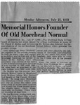 Memorial Honors Founder of Old Morehead Normal by Unknown.