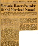 Memorial Honors Founder of Old Morehead Normal