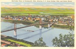 Postcard - Bird's Eye View of Portsmouth, Ohio, showing U. S. Grant Bridge, Ohio and Scioto Rivers